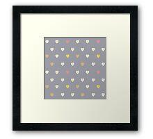 Heart shaped love vector cute pattern Framed Print