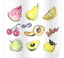 Watercolor fruits Poster