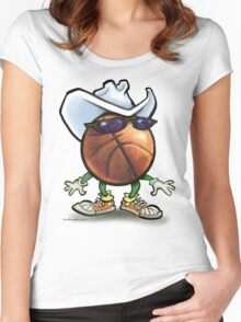 Basketball Cowboy Women's Fitted Scoop T-Shirt