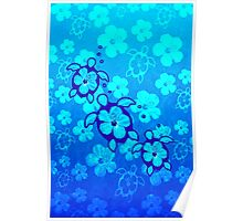 Blue Hibiscus And Honu Turtles Poster