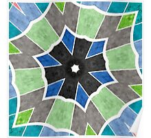 Trending Colors Blue Teal Star Kaleidoscope Poster