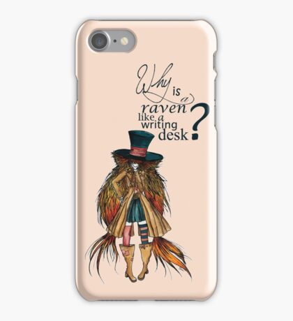 Why is a raven like a writing desk ? - Mad Hatter iPhone Case/Skin