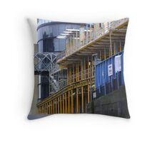 straight & curved - grey, blue and yellow, Calton Hill, Edinburgh Throw Pillow
