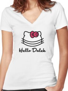 Hello Dalek Women's Fitted V-Neck T-Shirt