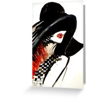 Woman with a hat fashion illustration Greeting Card