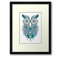 Blue Dreamcatcher Owl Framed Print