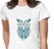 Blue Dreamcatcher Owl Womens Fitted T-Shirt