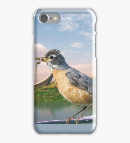 American Robin and a Mouthful iPhone Case/Skin