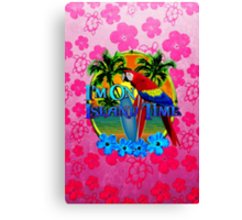 Pink Hibiscus Island Time Sunset Canvas Print