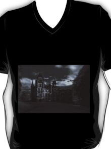 Spooky Night on Dunrobin Castle Black and White (Golspie, Sutherland, Scotland) T-Shirt