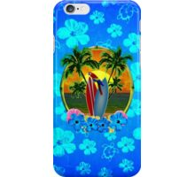 Blue Flowers Tropical Sunset iPhone Case/Skin