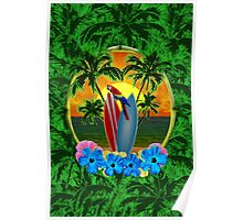 Tropical Sunset Palm Trees Poster