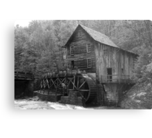 The Glade Creek Grist Mill in B&W Metal Print