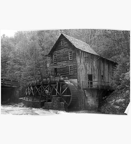 The Glade Creek Grist Mill in B&W Poster