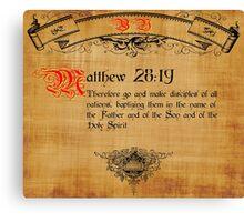 Blble Verse Matthew 28:19 Canvas Print