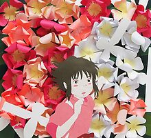 Spirited Away's Chihiro Running Through Flowers by HerkDesigns