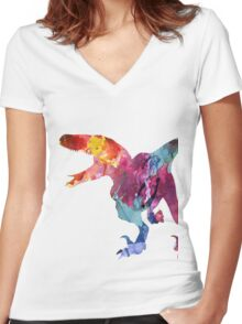 Funk-o-Raptor Women's Fitted V-Neck T-Shirt