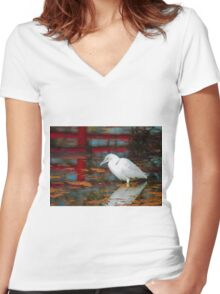 Snowy Egret Women's Fitted V-Neck T-Shirt