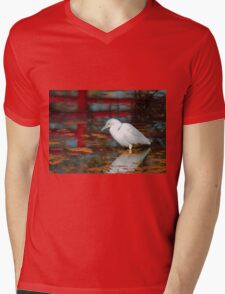 Snowy Egret Mens V-Neck T-Shirt
