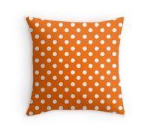 Orange and White Polka Dots Pattern Throw Pillow
