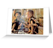 Girl lighting cheroot Greeting Card
