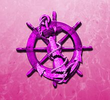 Pink Nautical Ships Wheel And Anchor by BailoutIsland