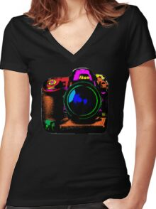 Camera pop art Women's Fitted V-Neck T-Shirt