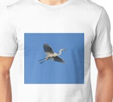 Flying Egret with Twig Unisex T-Shirt