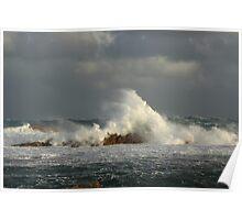 Rough seas at West Point on the far nor west Coast of Tasmania , Australia Poster