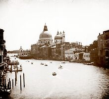 The Grand Canal in monochrome, Venice by Elana Bailey
