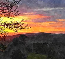 Laureana Cilento: landscape at sunset by Giuseppe Cocco