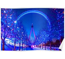 London Eye at Christmas in London, England Poster