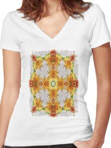 Gold Chrysanthemum Kaleidoscope Art 1 Women's Fitted V-Neck T-Shirt