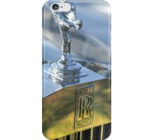 Vintage Rolls Royce car. Close up on the emblem and logo  iPhone Case/Skin