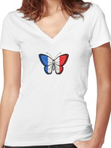 French Flag Butterfly Women's Fitted V-Neck T-Shirt