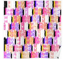 Girly Colorful Funky Watercolor Pattern Poster