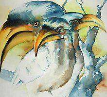 Hornbill trio by Debbie Schiff