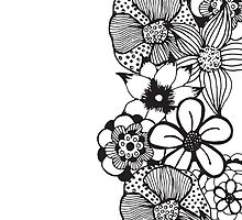 Black and White Floral Outline by Blkstrawberry