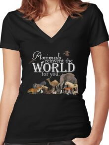 Animals Reinvent The World for You Women's Fitted V-Neck T-Shirt
