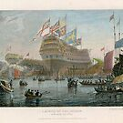 The launch of the Nelson (coloured engraving), Clennell, Luke (1781-1840)  by Bridgeman Art Library