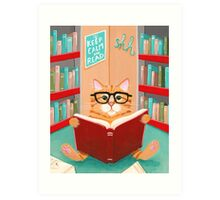 The Library Cat Art Print