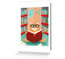 The Library Cat Greeting Card
