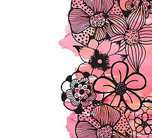 Black Floral Outline on Pink Watercolor by Blkstrawberry