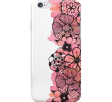 Black Floral Outline on Pink Watercolor iPhone Case/Skin