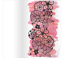 Black Floral Outline on Pink Watercolor Poster