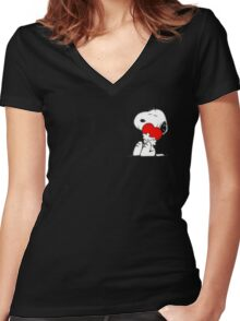 Snoopy lovely Women's Fitted V-Neck T-Shirt