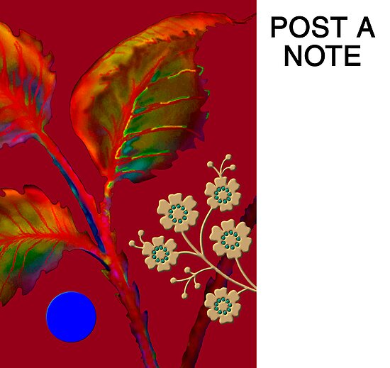 Poster/Note-Board, 'Flaming Leaves with Golden Blossoms' by luvapples downunder/ Norval Arbogast