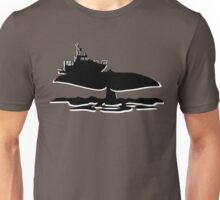 Fishing boat on whale tale Unisex T-Shirt