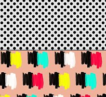 Colorful Retro Painted Brush Stroke Polka Dots by Blkstrawberry