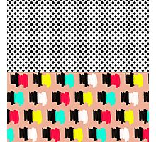 Colorful Retro Painted Brush Stroke Polka Dots Photographic Print